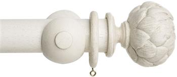 Acanthus Garden 45mm Curtain Pole, Faded White, Artichoke