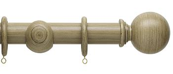 Origins 45mm Wood Curtain Pole, Shale, Ball Finial