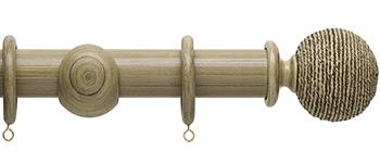 Origins 45mm Wood Curtain Pole, Shale, Twine Finial