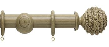 Origins 45mm Wood Curtain Pole, Shale, Fossil Ball Finial