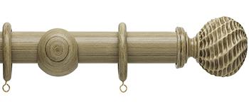 Origins 45mm Wood Curtain Pole, Shale, Ammonite Finial