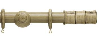 Origins 45mm Wood Curtain Pole, Shale, Bamboo Finial