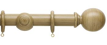 Origins 35mm Wood Curtain Pole, Shale, Ball Finial
