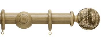 Origins 35mm Wood Curtain Pole, Shale, Twine Finial