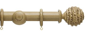 Origins 35mm Wood Curtain Pole, Shale, Fossil Ball Finial