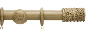 Origins 35mm Wood Curtain Pole, Shale, Fossil Barrel Finial