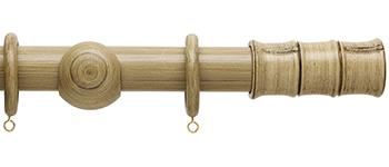 Origins 35mm Wood Curtain Pole, Shale, Bamboo Finial