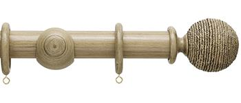 Origins 35mm Wood Curtain Pole, Quarry Stone, Twine Finial