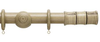 Origins 35mm Wood Curtain Pole, Quarry Stone, Bamboo Finial