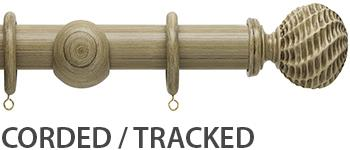 Origins 45mm Corded/Tracked Wood Curtain Pole, Shale, Ammonite Finial