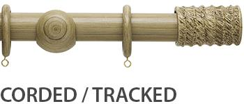 Origins 45mm Corded/Tracked Wood Curtain Pole, Shale, Fossil Barrel Finial