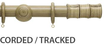 Origins 45mm Corded/Tracked Wood Curtain Pole, Shale, Bamboo Finial