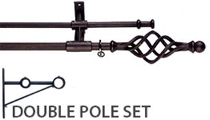 Artisan Wrought Iron Double Curtain Pole 12mm/16mm, Cage