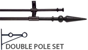 Artisan Wrought Iron Double Curtain Pole 12mm/16mm, Ball & Spear