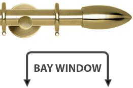 Neo 28mm Bay Window Curtain Pole Spun Brass Bullet