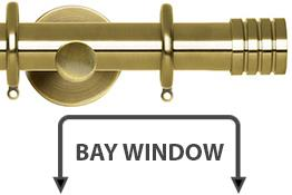 Neo 28mm Bay Window Curtain Pole Spun Brass Stud
