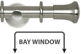 Neo 28mm Bay Window Curtain Pole Stainless Steel Trumpet