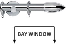 Neo 28mm Bay Window Curtain Pole Chrome Bullet