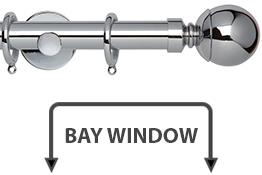 Neo 28mm Bay Window Curtain Pole Chrome Ball