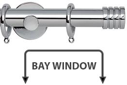 Neo 28mm Bay Window Curtain Pole Chrome Stud