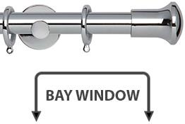 Neo 28mm Bay Window Curtain Pole Chrome Trumpet