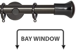 Neo 28mm Bay Window Curtain Pole Black Nickel Trumpet
