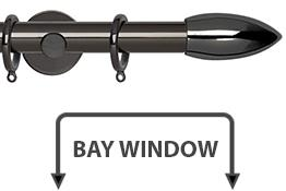 Neo 28mm Bay Window Curtain Pole Black Nickel Bullet