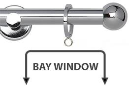 Neo 19mm Bay Window Curtain Pole Chrome Ball