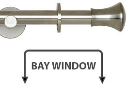 Neo 19mm Bay Window Curtain Pole Stainless Steel Trumpet