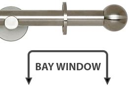 Neo 19mm Bay Window Curtain Pole Stainless Steel Ball