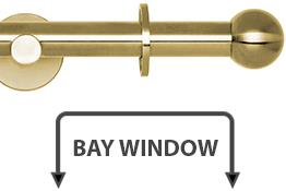 Neo 19mm Bay Window Curtain Pole Spun Brass Ball