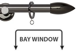 Neo 19mm Bay Window Curtain Pole Black Nickel Bullet