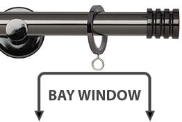 Neo 19mm Bay Window Curtain Pole Black Nickel Stud