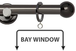 Neo 19mm Bay Window Curtain Pole Black Nickel Ball
