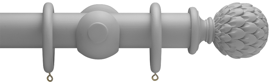 Advent Shades of Grey, 47mm Painted Wood Curtain Pole in Urban Grey with Artichoke finials